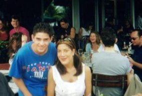 Me and Tori Spelling at some outdoor cafe in 2001.