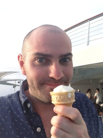 Me enjoying one of my 27 ice cream cones.